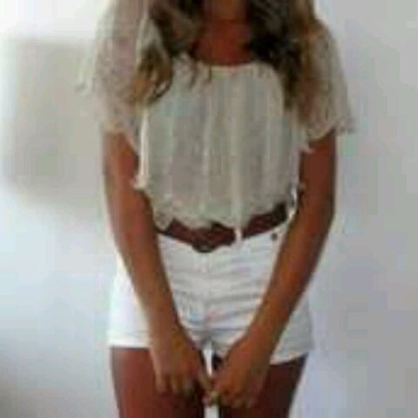 High waisted shorts tan belt loose shirt silver white blouse clothes shorts shirt lace flowy top flowy top lace flowy top leather belt white shorts high waisted cute floral top lacey baige tan summer outfits brown belt floral ,blouse, lace, white, sheer, flowy, shirt