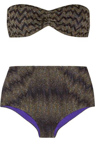 bikini bandeau bikini knit metallic black crochet swimwear