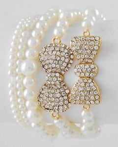 Gold Tone Clear Rhinestone Cream Synthetic Pearl 5 Piece Bow Bracelet Set | eBay