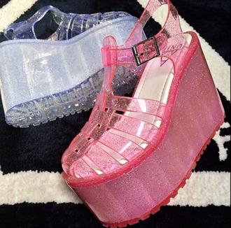 sandals festival seapunk pastel goth tumblr glitter transparent barbie alien platform shoes platform sneakers plastic