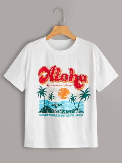 Tropical & Letter Print Tee
