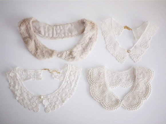 vintage retro jewels white collars lace cute fashion peter pan collar