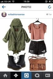 t-shirt,military style,green,black,ripped shorts,army green jacket,jacket,shorts,shoes,bag