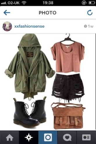 t-shirt military style green black ripped shorts army green jacket jacket shorts shoes bag