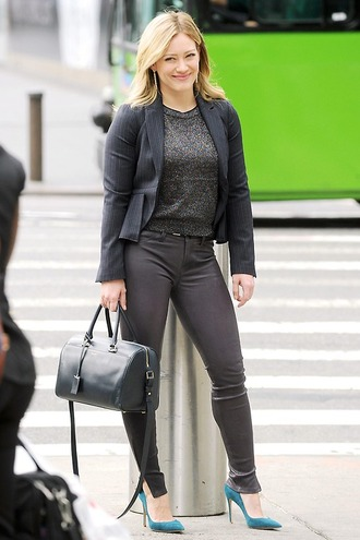 pants leather fall outfits hilary duff shoes bag