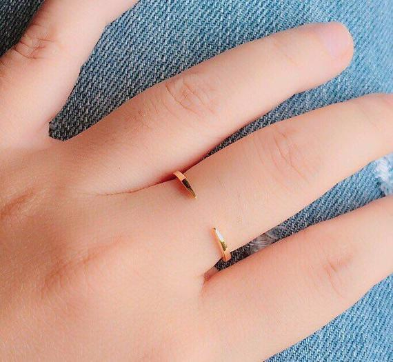 Open Gold Ring - Dainty Ring - Delicate Ring - Minimal Ring - Bridesmaid Gifts
