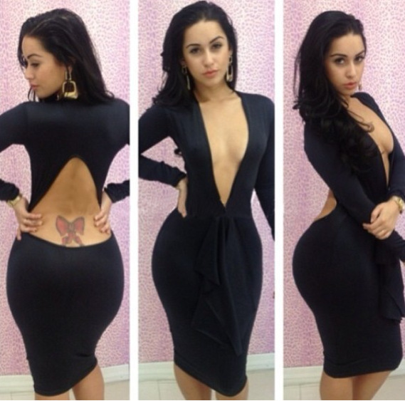 Free shipping.The 2014 New Year European and American nightclubs deep V sexy bandage dress package hip dress | Amazing Shoes UK