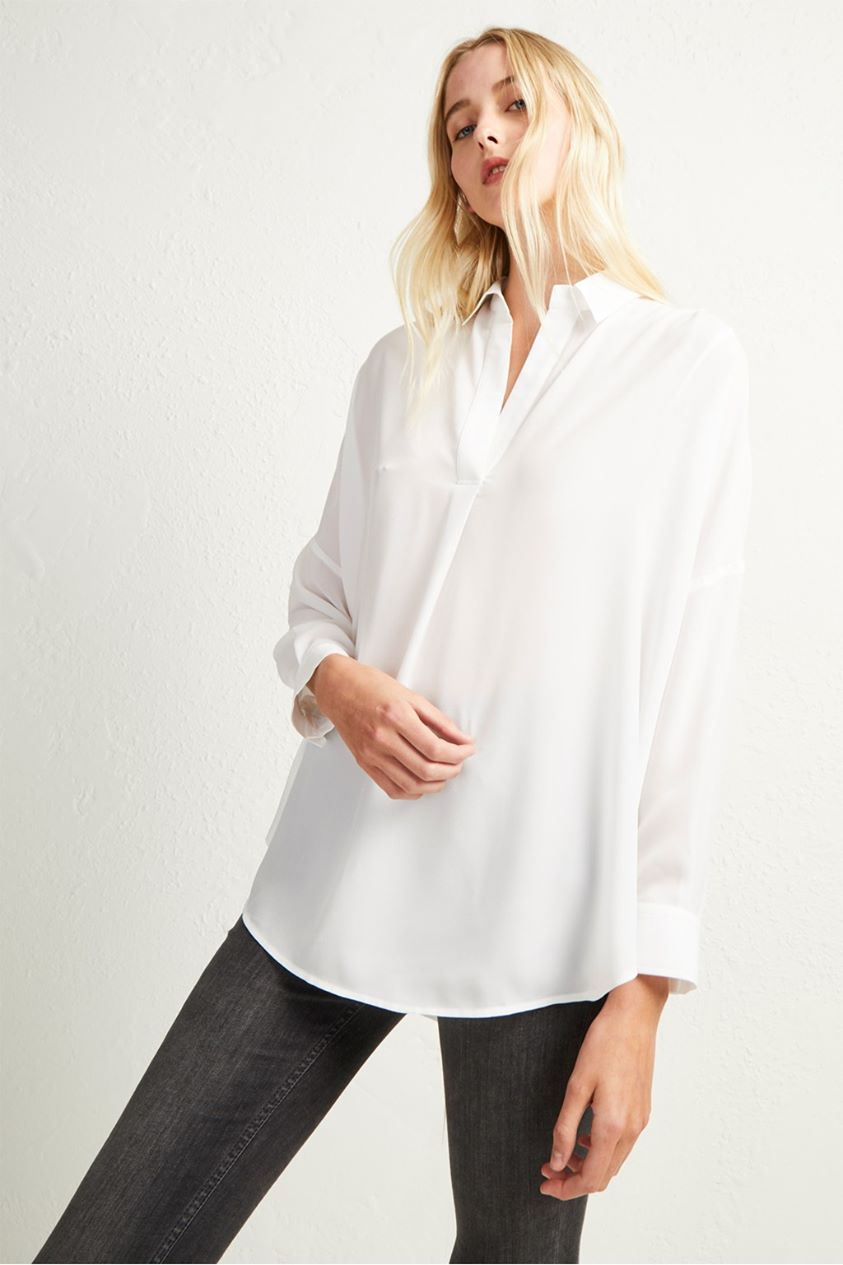 Rhodes Crepe Pop Over Shirt - summer white