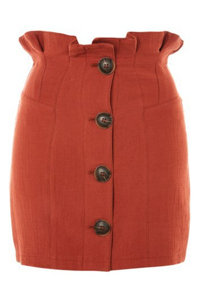 Topshop skirt mini skirt mini cotton rust