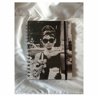 black and white audrey hepburn notebook