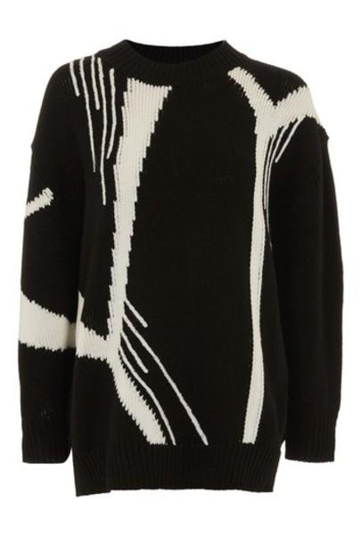 Topshop jumper oversized print black sweater