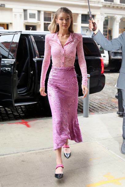 blouse top bodysuit pink pink skirt midi skirt gigi hadid model off-duty lace lace top pumps skirt sequins
