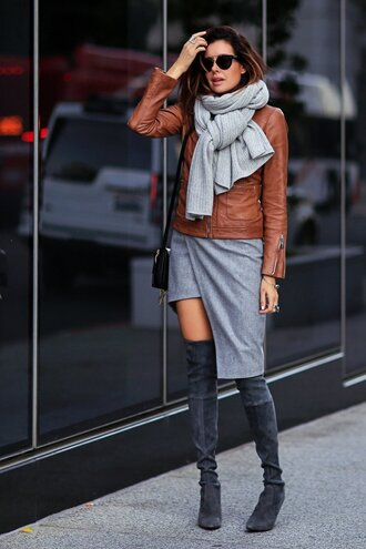 shoes grey dress brown leather jacket grey over knee boots blogger sunglasses