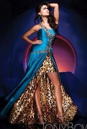 Blue Leopard Print Prom Dresses