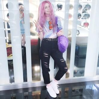 t-shirt metallic kayla hadlington holographic pastel hair pink hair