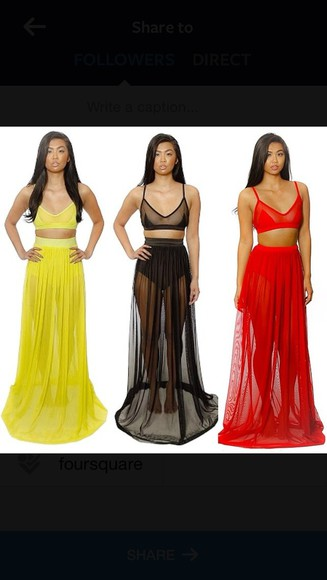 swimwear bathing suit neon sexy red maxi skirt sheer black cover ups dress dress, skirt, bottoms, top, tank top, summer, mesh, high waist
