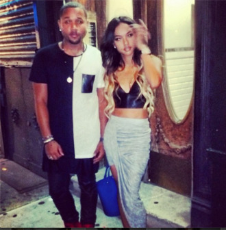 skirt ombre alexander wang red carpet style party outfit ootn asymmetrical skirt karrueche tank top shirt