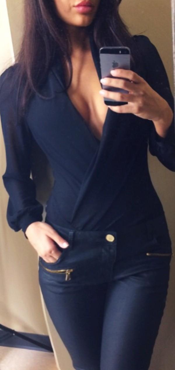 blouse bodysuit chiffon blouse bodysuit deep v deep v cut deep neckline plunge neckline deep v bodysuit top