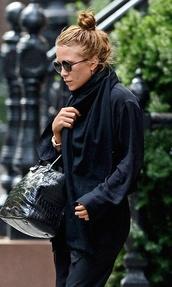 olsen sisters,blogger,bag,bun,round sunglasses,crocodile,cardigan,sunglasses,jewels,jacket