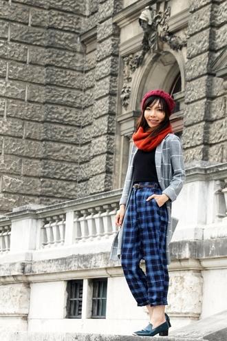 mochaccinoland blogger top scarf beanie checkered tartan pants