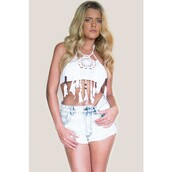 top,dreamcatcher top,crop tops,white top,white shirt,white,dreamcatcher,halter crop top,halter top