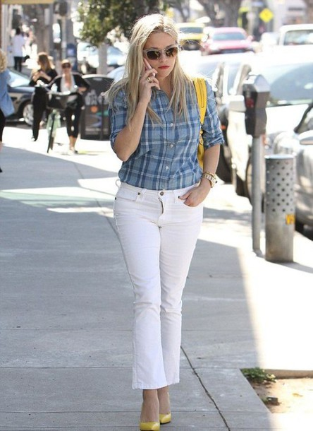 jeans cropped bootcut jeans white jeans cropped jeans shirt plaid shirt blue shirt pumps high heel pumps pointed toe pumps yellow shoes bag yellow bag streetstyle spring outfits sunglasses cropped bootcut white jeans
