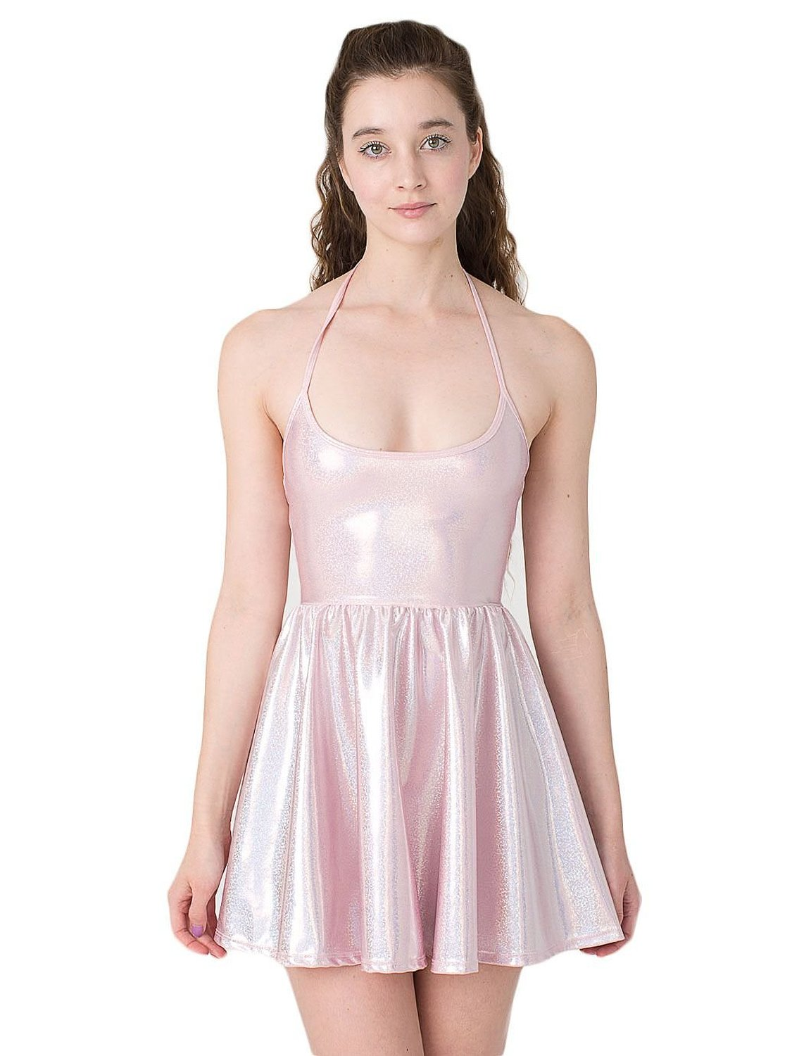 American Apparel Shiny Figure Skater Dress Baby Pink