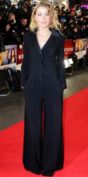 amber heard tailoring wide-leg pants pants