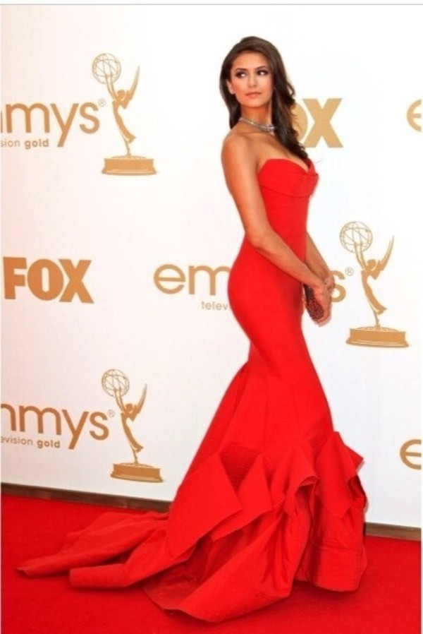 dress red dress nina dobrev gown red carpet dress red prom dress red emmys