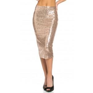 Midi Skirt in Rose Gold