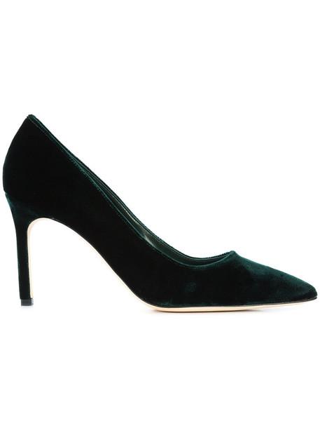 Manolo Blahnik women pumps leather velvet green shoes