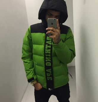 jacket bape aape bathingape stussy green jacket