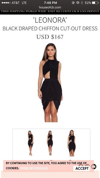 dress black drape cute