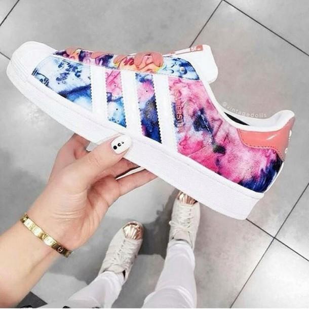 adidas superstar pink floral