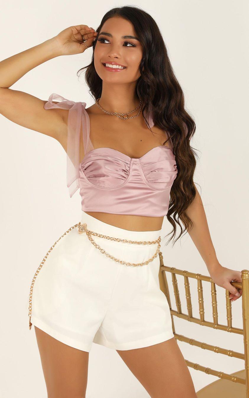 Showpo Make Your Entrance top in blush satin - 10 (M) Crop Tops