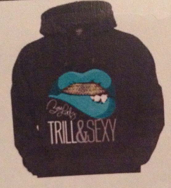sweater sexy trill lips grill black