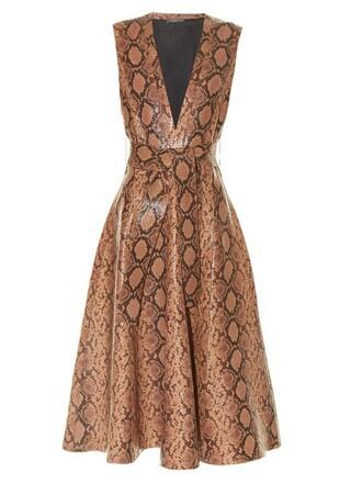 dress midi dress midi leather print brown