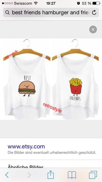 shirt fries and hamburger red green food shirt tumblr urban bff tank top food bff shirts best friends burger and fries fries burger and fries