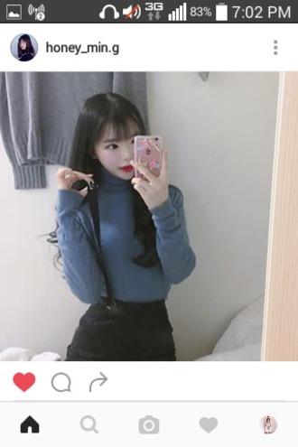 top turtleneck turtleneck sweater long sleeves long sleeve shirt korean fashion korean style korean celebrities korean street fashion korean street style korean shirt asian asian fashion kfashion ulzzang blue black skirt black blue sweater blue shirt