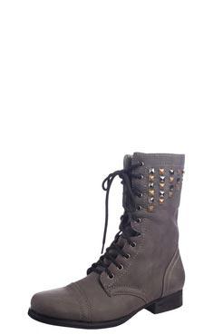 Leisha grey studded worker boot at boohoo.com