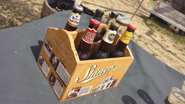bag shiner bock beer holder wooden