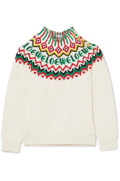 LOEWE sweater white cotton