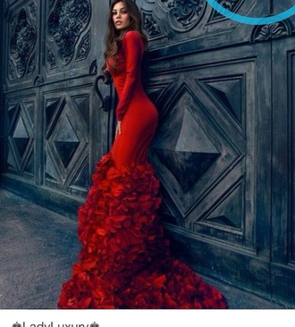 dress long sleeves red dress gown roses