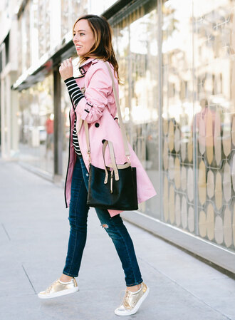coat black striped shirt ripped jeans metallic sneakers blogger black bag pink trenchcoat