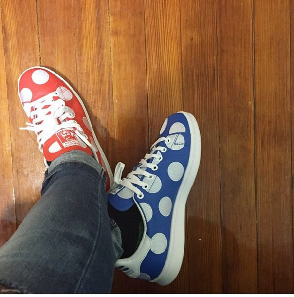 shoes pocka dot red white blue stansmith
