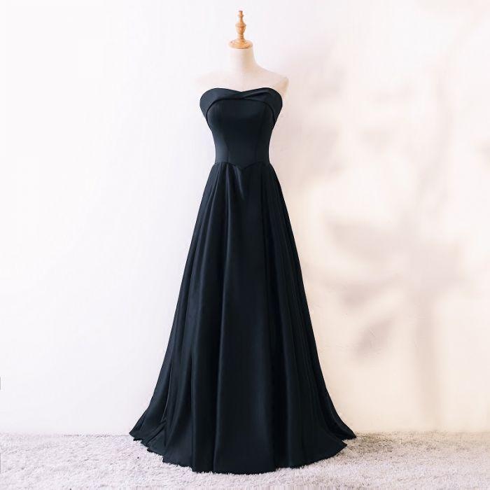 98ceec63297 Modest   Simple Black Prom Dresses 2018 A-Line   Princess ...