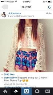 shorts,cropped sweater,aztec shorts,shirt,cardigan,cute,aztec,pattern,tribal pattern,pink,blue,lace crop top