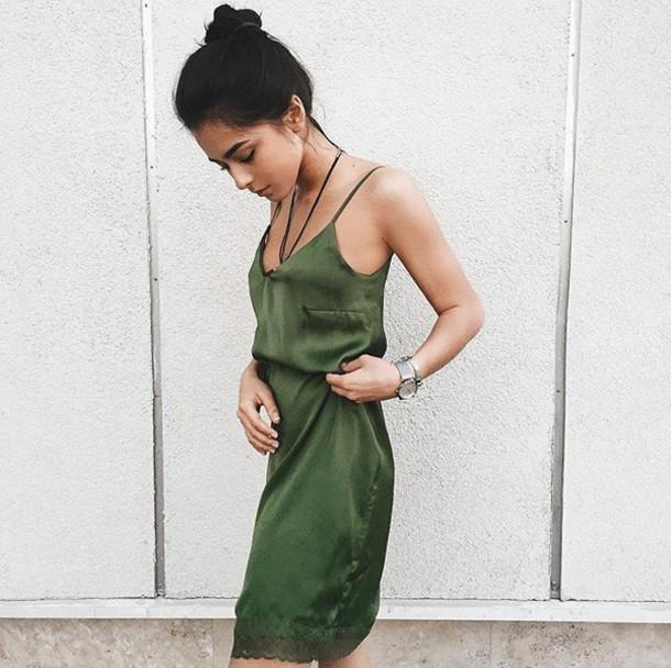 cozy fresh buy sale cheap sale dress, tumblr, green dress, slip dress, necklace, spaghetti strap ...