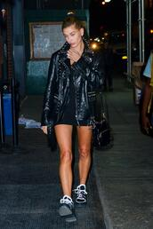 jacket,sneakers,hailey baldwin,model off-duty,biker jacket,studded,mini dress,black dress