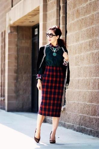 skirt green blouse black beaded jacket animal print heels blogger checkered midi skirt sunglasses